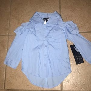 Open shoulder button up too
